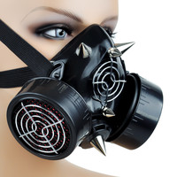 Cyber Goth Rave Gas Mask Spike Dual Respirator Zombie Halloween Punk Cosplay