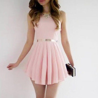 Sexy Women Sleeveless Basic Chiffon Dresses Bandage Bodycon Clubwear Evening Party Mini  Dress Pink S
