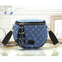 Louis Vuitton LV Fashion Women Shopping Leather Canvas Satchel Shoulder Bag Crossbody Black&Black