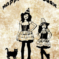 little girl witches black cat png clipart Digital art Images Download halloween clip art graphics wall art printables digi stamp line art