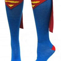 Superhero Adult Knee High Cape Sock Superman
