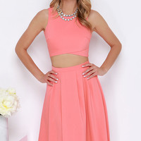 Nifty-Fifty Coral Two-Piece Dress