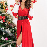 Open Front  Faux Fur Trimmed  Hooded Christmas Coat