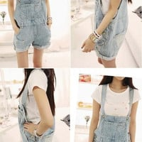 Fashion Women Denim Rompers Strap Pockets Frayed Ripped Holes Overalls Jumpsuits Shorts Jeans Overalls for Women G0616|26201
