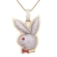 Two Tone Bling Bunny Designer Gold Finish Rapper Pendant