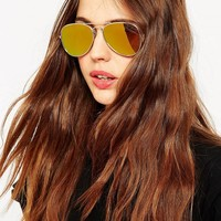 ASOS | ASOS Gold Aviator With Flat Lens at ASOS