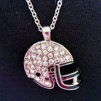 Football Helmet necklace with Crystals
