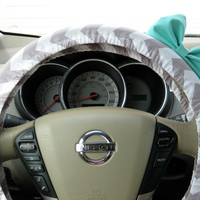Weathered Grey Chevron Steering Wheel Cover with by BeauFleurs