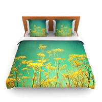 "Sylvia Cook ""Yellow Flowers"" Teal Sky Lightweight Duvet Cover"