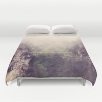 Art Duvet Cover Breathtaking Modern Photography home decor Bed Cover Mountains gray grey tan Forest Green purple tones bedding Queen king