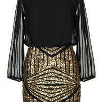 Limited Edition Dress   Long-Sleeve Gold Sequin Party Dresses   RicketyRack.com