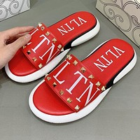 Bunchsun Valentino Hot Sale Women Casual Rivet Thick Soles Slippers Sandals Shoes