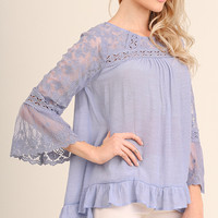 Lace Detail Bell Sleeve Top - Periwinkle