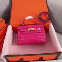 HCXX 19June 592 Hermes mini kelly second generation Crocodile pattern Fashion Handbag rose red