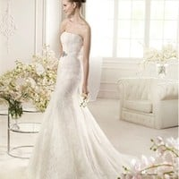 White Mermaid Strapless Beading Lace 2013 Wedding Dress IWD0210 -Shop offer 2013 wedding dresses,prom dresses,party dresses for girls on sale. #Category#