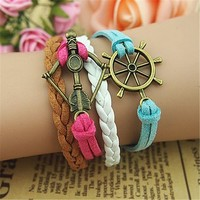 MagicPieces Bow and Arrow Helm Braid 4 Layers Mutilcolor Handmade MultiLayered Bracelet For Women's Teens Friendship Birthday Gift