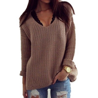 Autumn Solid Full Sleeve Women Sweater O-neck Pullovers Wool = 1920037828