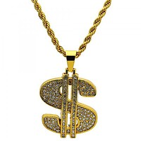 Gold Tone 04.242.0002.30GT Pendant Necklace, Rope and Money Sign Design, with White Crystal, Polished Finish, Golden Tone