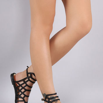 Honeycomb Caged Flat Sandals