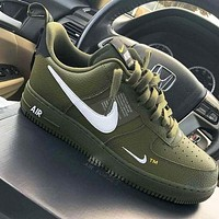 Inseva NIKE AIR FORCE 1 07 LOW  new men and women casual fashion wild sports shoes Green