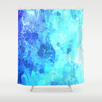 Frosty ice blue drip paint art by healinglove Shower Curtain by Healinglove products