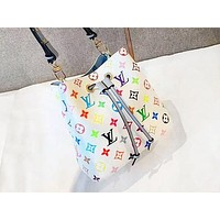 LV Casual Print Shopping Shoulder Bag Fashion Inclined Across Bucket Bag