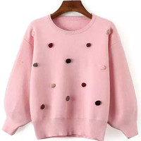 Pink Ball Patched Crop Sweater