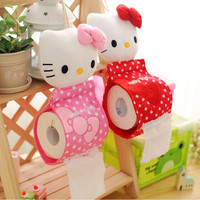 1pcs 30*13cm 2Colors Plush Stuffed TOY DOLL Pendant Hello KITTY Home Bathroom Tissue Case Box Container ; Napkin BAG Holder BOX
