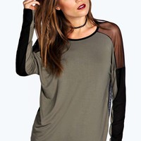 Caroline Long Sleeve Mesh Panel Top