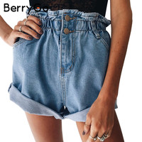 BerryGo Casual blue hemming denim shorts Women button summer beach   black jeans shorts Female 2017 pocket high waist shorts