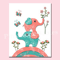 Elephant poster baby girl nursery wall decor toddler art playroom decoration kids room artwork newborn gift turquoise salmon birds print