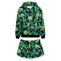 Adogirl Winter Casual Green Maple Leaf Suit Harem Shorts Men Women Hoodies +Shorts Hip-Hop Shorts Sweatshirt Tracksuits