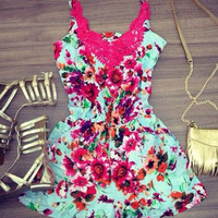 Floral Print Lace-Paneled Romper