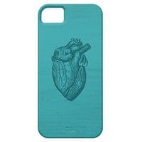 Vintage Turquoise Anatomical Heart Drawing Design iPhone 5 Case