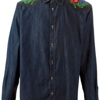 Dsquared2 Embroidered Shoulder Denim Shirt - Tiziana Fausti - Farfetch.com