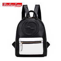 Bosailang Brand Women Bag Preppy Backpack Leather Student Zipper Bags Soft PU Leather Women Bag
