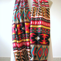 Tribal Infinity Scarf, Women's Winter Fashion Scarf, Aztec Cozy Loop Scarf, gift for her