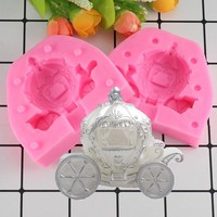 Mujiang 3D Pumpkin Carriage Candle Silicone Mold Wedding Fondant Cake Decorating Tools Chocolate Candy  Resin Clay Soap Molds