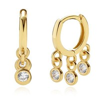 14K Gold Plated Hoop CZ Drop Earrings