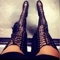 Sexy Black High Heels Gladiator Shoes Woman Peep Toe Lace Up Thigh High Boots Summer Over The Knee Sandal
