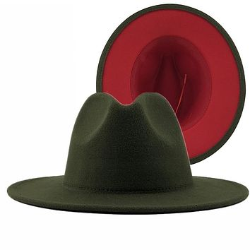 Unisex Outer Army Green Inner Red Wool Felt Jazz Fedora Hats with Thin Belt Buckle Men Women Wide Brim Panama Trilby Cap L XL