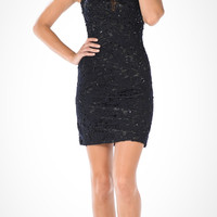 Black Lace Illusion Above the Knee Bodycon Cocktail Dress