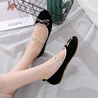 Summer new rivet elastic bow large size  peas shoes flat sole shoes Black