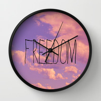 Freedom  Wall Clock by Rachel Burbee