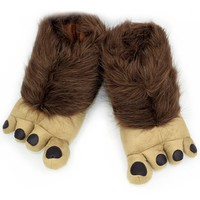 Ibeauti Bear Paw Plush Slippers, Mens Novelty Soft Baggy Non Skid House Floor Indoor Slippers, Unique Character Monster Feet Halloween Holiday Toys