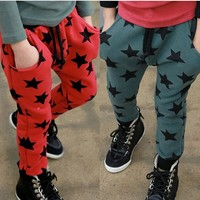 New Korean Style Size 2-6Y New Casual Boys Pants Kids Printed Star Harem Pants