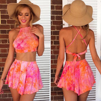 Cross Back Backless Crop Top with Shorts Two Pieces Dress Set