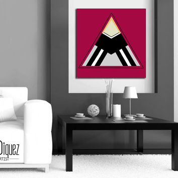 "Customizable! Original abstract painting. 24x24"" Modern wall art. Burgundy red painting with silver and black. Geometric canvas art."