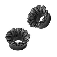 Organic Hand Carved Areng Wood Lotus Tunnel Plugs - 2G (6.5 mm) - Sold as a Pair