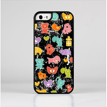 The Furry Fun-Colored Critters Pattern Skin-Sert for the Apple iPhone 5-5s Skin-Sert Case